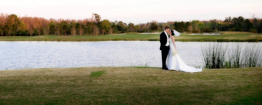 Wedding Couple in front of Lake